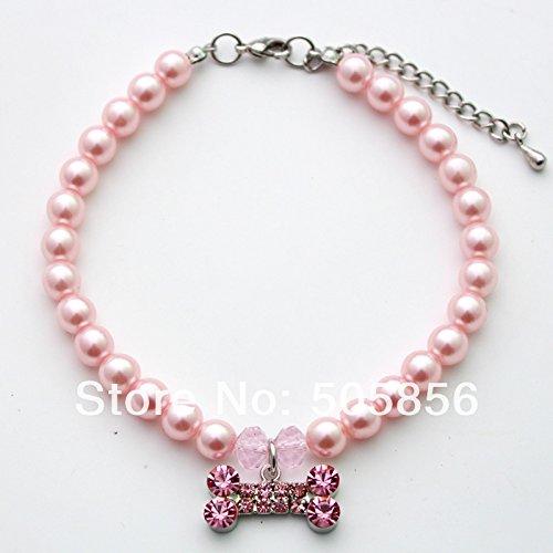Pink dog pearls pet necklace collar & rhinestones bone charm,pet S/M/L (L)