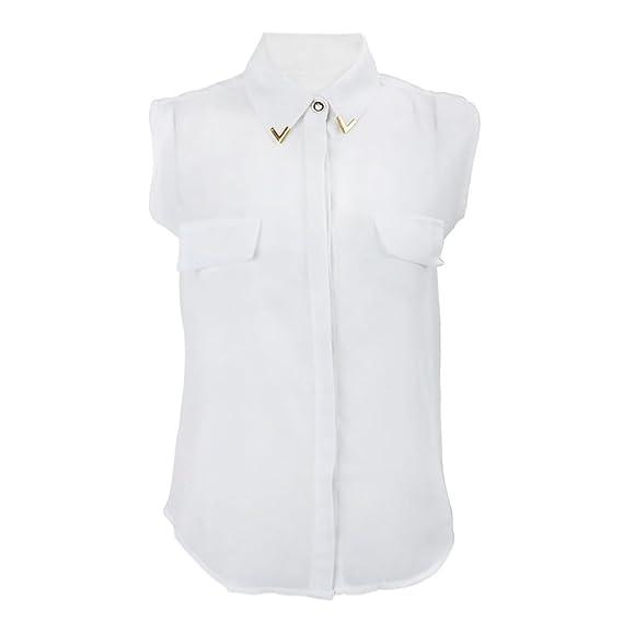 SODIAL(R) Blusa de Moda Casual europea para Mujer Blusa de Mock bolsillos sin mangas de solapa de Metal (Blanco-M): Amazon.es: Ropa y accesorios