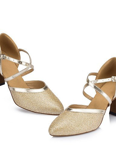ShangYi Non Customizable Women's Dance Shoes Latin / Jazz / Modern / Swing Shoes / Flamenco / Samba Leatherette /Chunky Heel Gold 5hDJ4I1t
