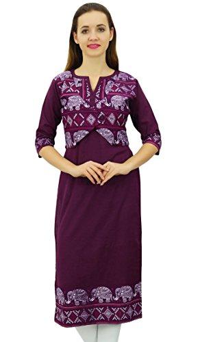 Kurti Tunique Chic de Veste Designer Kurta Femmes Prune Ethnique Style Phagun qxTEAwx