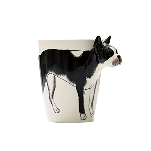 ABTP Novelty Hand Painted Coffee Mug 3D Handle Handmade Porcelain Tea Cup (Approx. 400ml) (Zebra/Giraffe/Chimpanzee/Bulldog/Sika Deer) (Bulldog)