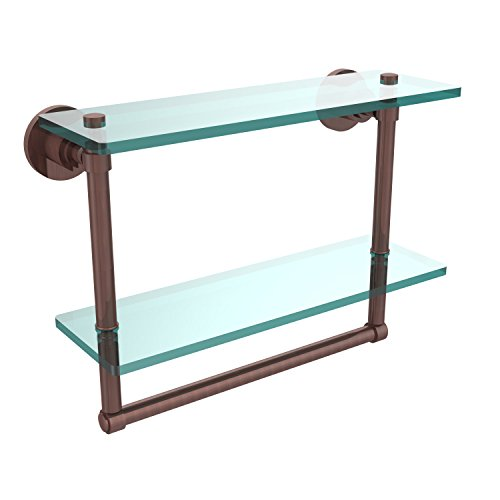 - Allied Brass WS-2TB/16-CA Washington Square Collection 16 Inch Two Tiered Glass Shelf with Integrated Towel Bar, Antique Copper