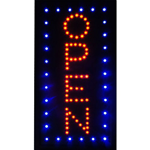 Led Neon Open Signs Decor for Business Mart Shop Store Bar Cafe Now Open Sign Display On/Off Switch + Chain (19'' Lx 10''W(Vertical ''Open'')) by Boshen