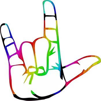 Amazon Com 5in X 5in Rainbow Sign Language I Love You