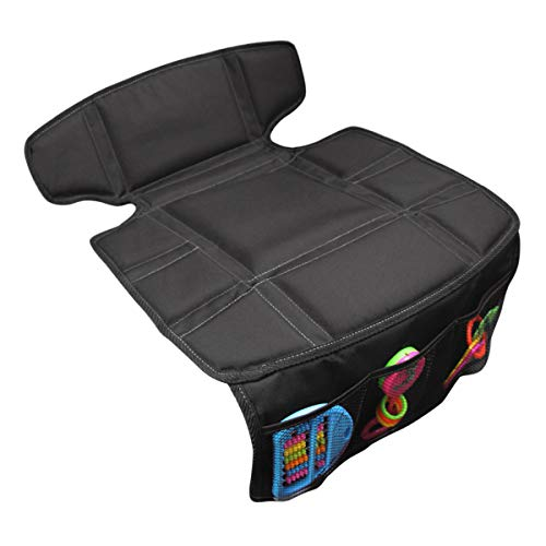 INFANZIA Car Seat Protector Thick Padding Protection for Child Cars Seats, Dog Mat, Auto Seat Cover with Extra Storage Pocket Protect Leather Seats and Fabric Upholstery