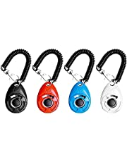 Dog Clicker,EYLEER 4 Pack Pet Dog Cat Training Clickers Set with Wrist Band Big Button for Pet Dog, Cat, Horse, Birds, Rabbit and Other Animal Training Kit