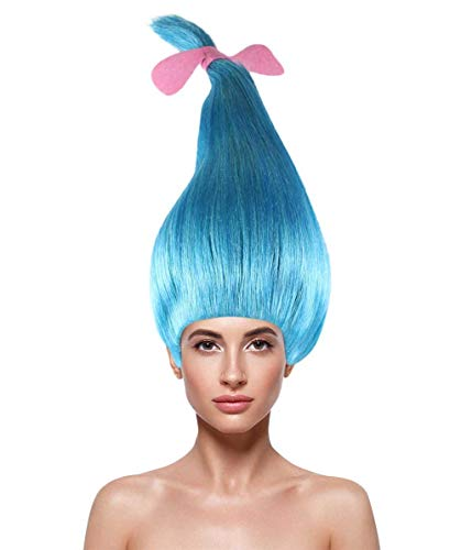 Halloween Party Online Troll Smidge Wig, Blue Adult HW-1677A -