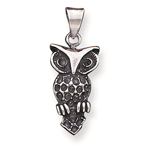 925 Sterling Silver Antiqued Owl Charm Pendant 23mm x 11mm