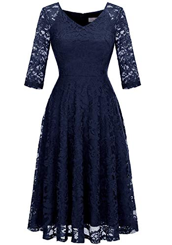 Dressystar Long-Sleeve A-Line Lace Bridesmaid Dress Midi for Wedding Formal Party XS Navy