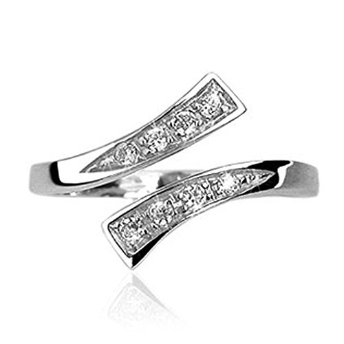 Sterling Silver Bypass Solitaire with Cz Adjustable Toering with .925 Engraved Inside The Ring 1.6G of (Engraved Toe Ring)