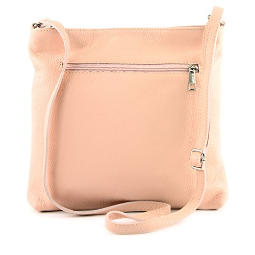 Shoulder Rosabeige Bag T144 Bag Bag de Weiß Shoulder Ladies Leather ital Leather Modamoda Crossover qa7Xtgn