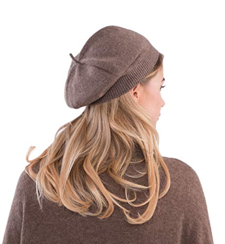 cashmere 4 U 100% Cashmere Beret Hat for Women (Maroon)