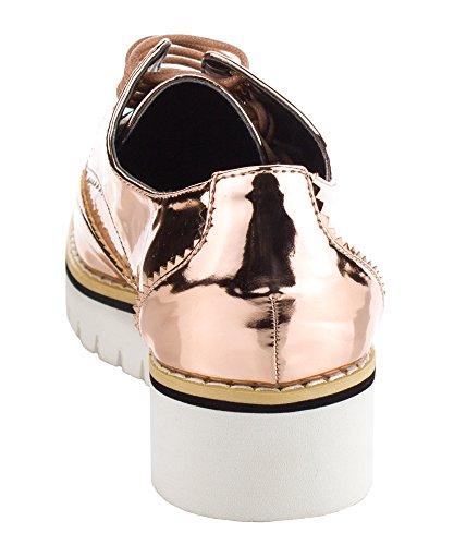 Cape Robbin Damesmode Patent Metallic Lederen Veter Platform Oxford Sneakers Schoenen Rose Goud