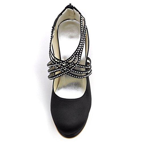 EP11085 Chaussures Satin Noir Bretelles Plate Ronde PF Femme De Forme Zip Mariage Haut bout ElegantPark De Talon En fqwd6O6