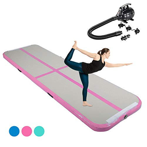 Pinty 10ft Airtrack Tumbling Mat, Air Tumbling Floor Mat for Gymnastics/Yoga/Taekwondo/Water Floating/Camping Training w/Electric Pump, Perfect for Home Use, Beach, Park and Pool (Pink)