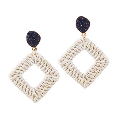 - Woven Straw Earring,Lethez Women's Weave Straw Square Dangle Ear Drop Earrings Jewelry (Black)