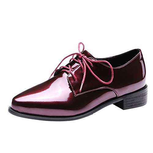 Heels Oxford Shoes Lace Women's Chunky Pointed Toe up Red Latasa Claret aqZp0