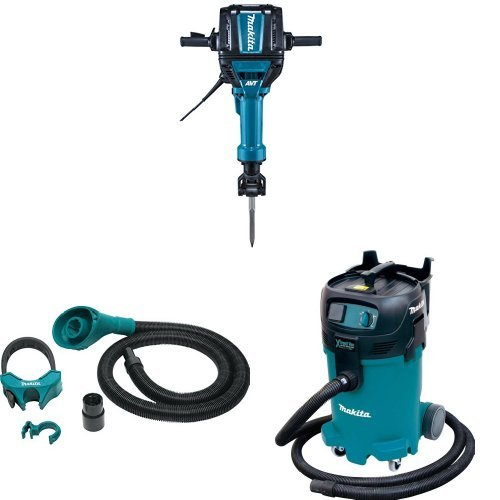 Makita HM1812 70 lb. Advanced AVT Breaker Hammer, 197172-1 Dust Extraction Attachment, 1-1/8-Inch Hex Shank, VC4710 12-Gal Xtract Vac Wet/Dry Dust Extractor/Vacuum