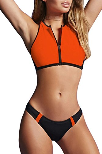 0413a4a311474 Kisscynest Women's Zip Up Color Block Active Two Pieces Bikini Sets Cropped Swimsuit  Swimwear