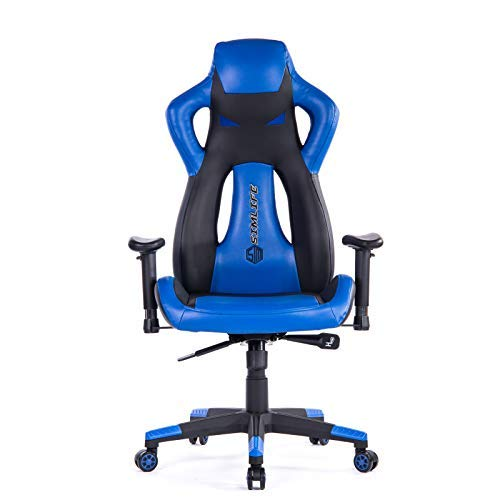 SimLife Executive Gaming Racing Swivel Chair, High Back with Lumbar Support & Headrest, Perfect for Office Home or Gaming, Blue PU Leather Winsmooth