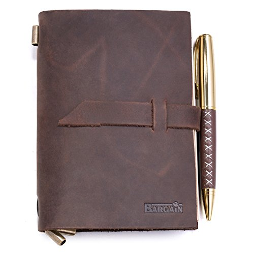Handmade Leather Notebook Journal – Refillable Notepad for Men & Women to Write In for Daily Use & Travel – Ideal for Gifts, Fountain Pen Writing, Diary - Personal & , Notebooks & Journals