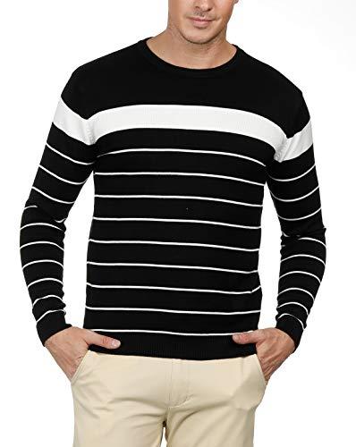 (PJ PAUL JONES Men's Crew Neck Striped Pullover Sweater Long Sleeve)