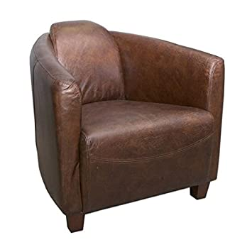 Amazon.com: Mohr and McPherson Classic Leather Tub Chair In Vintage ...