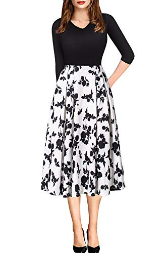 ECOLIVZIT Semi Formal Dresses for Women Wear to Work Casual Party with Pocket Sleeve Black White M