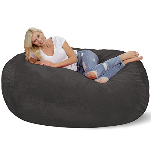 Chill Sack Bean Bag Chair: Huge 6' Memory Foam Furniture Bag and Large Lounger - Big Sofa with Soft Micro Fiber Cover - Grey Furry