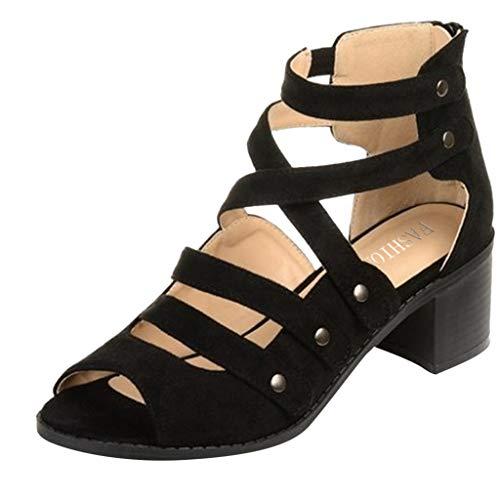 Duseedik Women's High Heel Sandals Ladies Zipper Summer Ankle Square Heel Breathable Peep Toe Outdoor Shoes