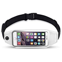 uFashion3C Universal Running Belt Pouch Case/ Waist Fanny Pack for iPhone 6, 6S, 6 Plus, 6S Plus, Galaxy S5, S6, S7,Edge, Note 3, 4, 5, LG G3, G4 G5 with OtterBox/ LifeProof Waterproof Case (White)