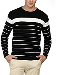 Men's Long Sleeve Lightweight Striped Pullover Crew Neck Sweater