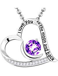 Valentines Day Gift for Her February Birthstone Natural Amethyst Gemstone Heart Necklace Sterling Silver