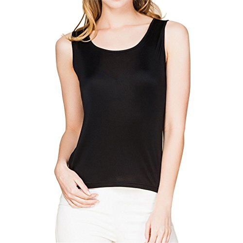 Knit 100% Silk - Paradise Silk 100% Silk Knit Women's Sleeveless Tank Top Large Black