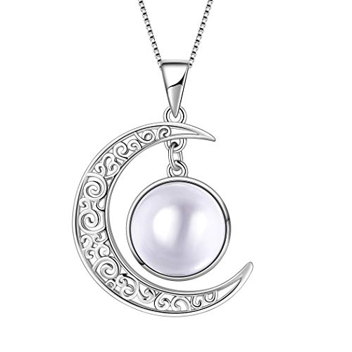 Aurora Tears April Birthstones Necklaces Women 925 Sterling Silver Crescent Moon Pendants Girls Crystal Birthday Jewelry Apr. Birth Stone Gifts DP0091W