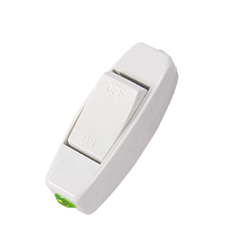 Orcbee  _6A 250V Lnline ON/Off Table Lamp Desk Light Cord Control Switch White