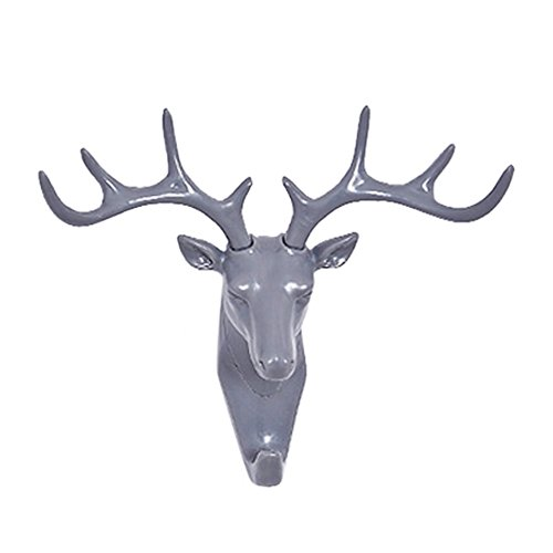 Ninasill Bedroom Coat Hook Without Trace Deer Head Hook Deer Head Self Adhesive Wall Door Hook Hanger Bag Keys Sticky Holder (Gray) -