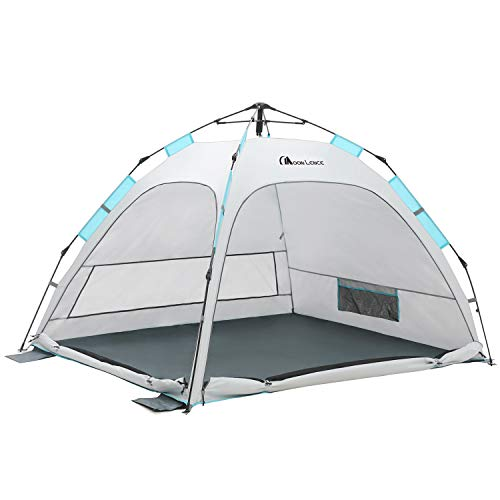 MOON LENCE Beach Tent Automatic Pop Up Sun Shelter Instant Tent Compact Lightwight 2-3 Person Beach Sun Shade with Carrying Bag,4 Sand Pockets,UPF 50+ Protection