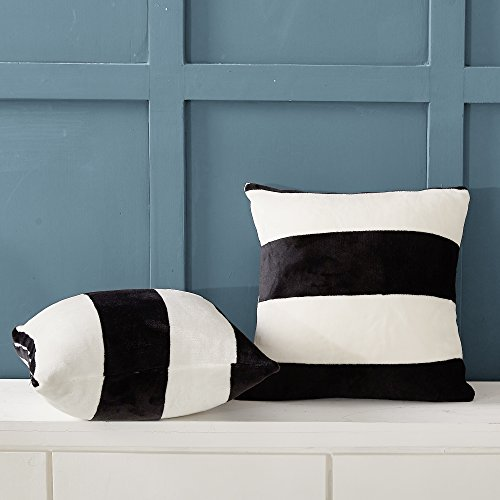 NTBAY Flannel Decorative Throw Pillowcases Cushion Covers Set of 2, Black and White Striped Pattern, 18