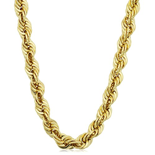 Kooljewelry Mens 14k Yellow Gold Filled Bold Rope Chain Necklace (6 mm, 16 inch) ()