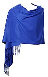 Womens Pashmina Shawl Wrap Scarf Ohayomi Solid Color Cashmere Stole Extra Large 78x28 Royal Blue