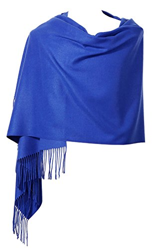 "Womens Pashmina Shawl Wrap Scarf - Ohayomi Solid Color Cashmere Stole Extra Large 78""x28"" (Royal Blue)"