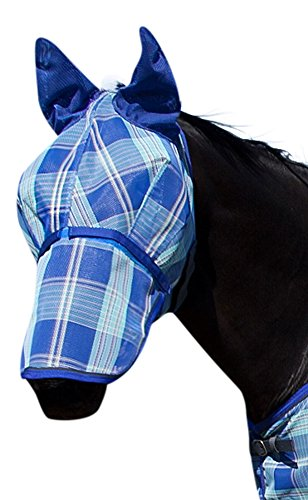 kensington-kpp-fly-mask-with-nose-cover-and-ears-blue-ice-plaid-large