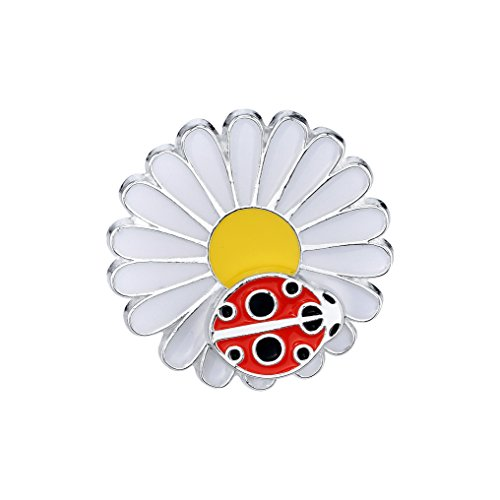 Pin Pushers Ladybug on Daisy Flower Enamel Lapel Pin Brooch