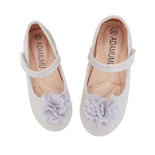 ADAMUMU Toddler Shoes Mary Jane Shoes Dress Girls Flower Crystals Flat for Children in Wedding Party Uniform School Daily Wear,2M US Big Kid,Grey (Best Father's Day Sales)