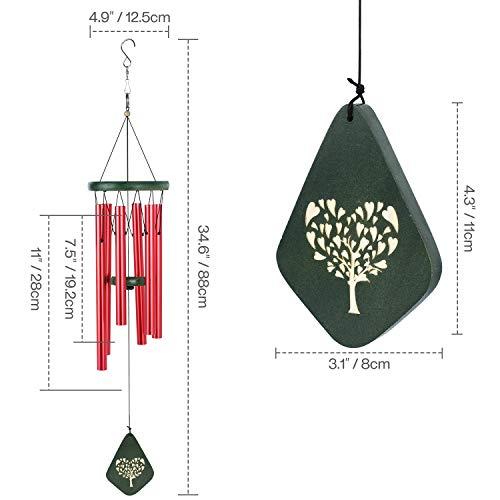 Lemecima Carillon éolien 31,6 Pouces Décor intérieur extérieur avec des Tons mélodiques apaisants Cloche réglable avec 6 Touches avec Mode muet, Rouge et Vert
