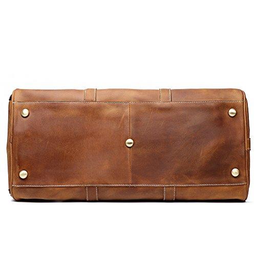 LeatherFocus Leather Travel Luggage Bag, Mens Duffle Retro Carry on Handbag (Brown)