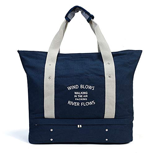 Women's Canvas Travel Tote Bag Carry On Weekend Duffel with Shoes Compartment Overnight Bags with Trolley Sleeve (Deep Blue) from Mladen