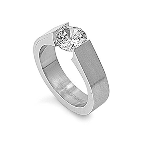 Stainless Steel Tension Set Ring - Stainless Steel 7mm Tension Set Cubic Zirconia Ring - Size 5