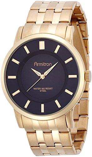 Armitron Men's 20/4962BKGP Black Sunray Dial Gold-Tone Bracelet Watch